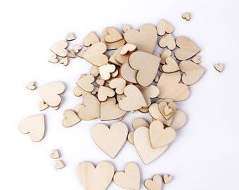10 wooden hearts embellishments raw Scandinavian spirit