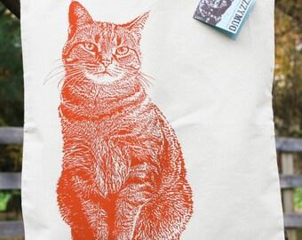 Ginger Cat Tote Bag, Knitting Bag, Orange Cat, Cat Bag, Cotton Tote Bag