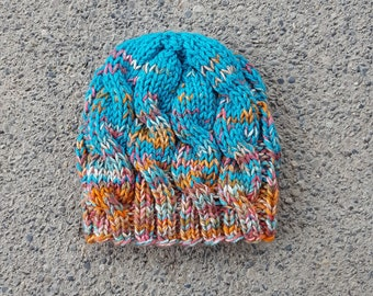 Fading Chunky Cable Trio -- Handknit Beanie -- Ready to Ship