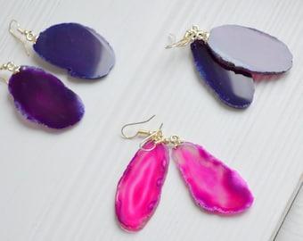 Agate Earrings, Pink Agate Earrings, Agate Slice Earrings, Raw Gemstone Earrings, Silver Agate Earrings, Purple Agate Earrings, Fucsia Agate