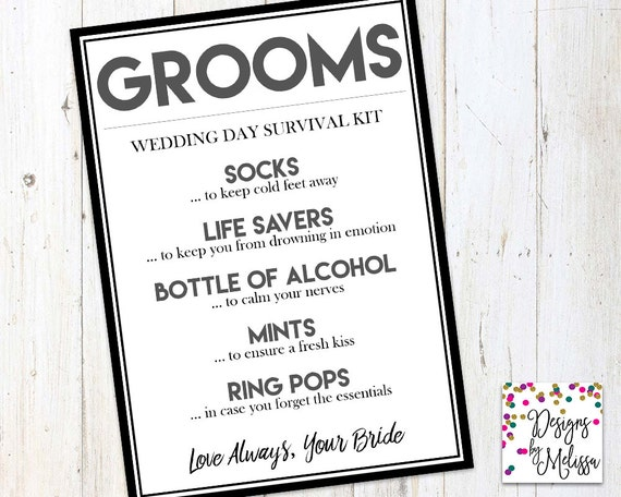 Grooms Gift From Bride On Wedding Day: Groom's Wedding Day Survival Kit Groom Gift From Bride