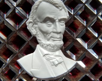Signed 1953 Vintage Baccarat Paperweight Ruby Red Abe Lincoln Cameo