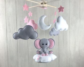 Baby mobile - elephant mobile - cloud babies - cloud mobile - pink and grey - girl nursery - elephant nursery decor