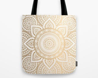 Gold Mandala Pattern Tote Bag, Mandala Tote bag, Boho Tote, Gold Bag, Beach Bag, Grocery Sack, Library Tote, Shoulder Bag, Travel Bag, Bag