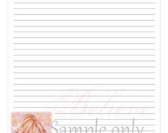 "Digital download printable stationery letterhead letter writing ~ 2 different sheets ~ Instant Download ~ Personal Use ~ ""Serenity"" female"