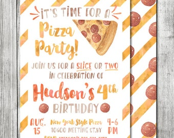 Watercolor Pizza Party Birthday Invite - 5x7 JPG DIGITAL FILE (Front and Back Design)