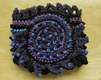 Crochet beaded cuff bracelet