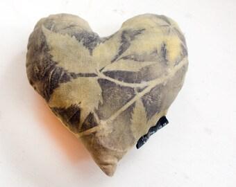 Leaf printed small botanical heart pillow / eco printed home decor