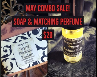 GYPSY FORTUNE TELLER floral perfume &  handmade cold process soap set on sale~Citrus, Patchouli, Jasmine, artisan perfume, bath gift, soap