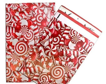 TAX SEASON Stock up 25 Pack Tear Proof Candy Cane Design Plastic Poly Mailing Self Stick Closing Envelopes  6X9 Inches