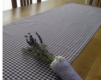 Runner table runner Checkered purple-white Vichy