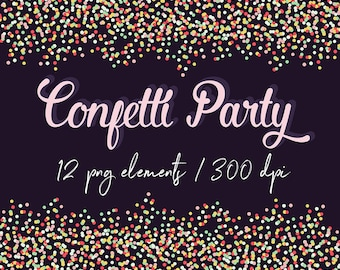 Confetti Borders Clip Art, Colorful Confetti Borders For Personal and Commercial Use, 12 Transparent PNG Files, BUY5FOR8