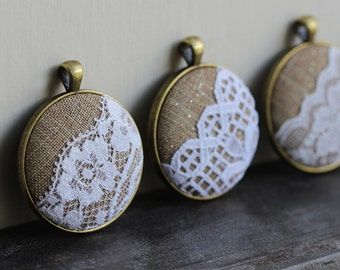 Boho Bridesmaid Gift Set of 4 Necklaces, Rustic Wedding Lace Pendants, Unique Bridal Shower Favors