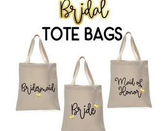 Bridal Party Canvas Tote Bag // Tote Bag // Tote // Canvas Bag // Handled Bag // Bride // Bridesmaid // Maid of Honor // Wedding Party