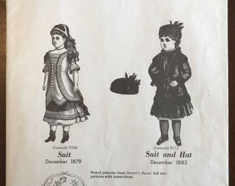 """1980 Vintage Doll Clothes Patterns for 121/2""""-13"""" Doll Two 1800s Style Suits"""