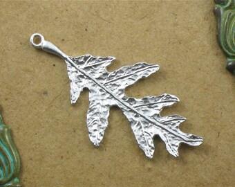 2 matte silver Oak Leaf jewelry pendant . 40mm x 20mm (IB10s)