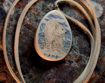 Polar Bear Scrimshaw Fossilized Woolly Mammoth Ivory Pendant