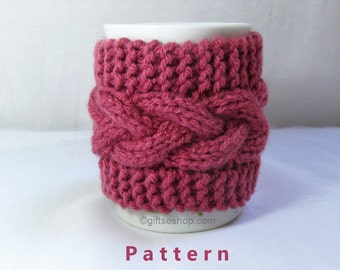 Cabled Cup Cozy Knitting Pattern, Coffee Mug Cozy Pattern PDF n 53