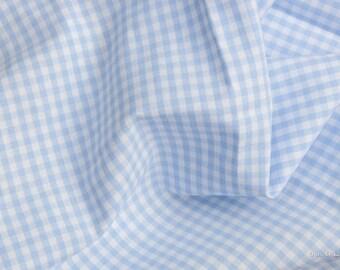 Gingham fabric light blue checkered 2.5 mm Eco-Tex® standard 100