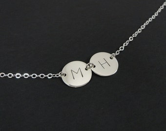 """Sterling Silver Double Disc Initial Necklace - 1/2"""" discs - Hand Stamped Personalized Jewelry - Custom Initial necklace"""