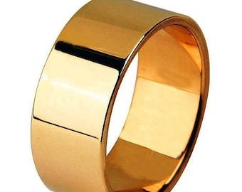 TAX Season Sale 14 kt  Rose Gold Classic Smooth Cigar Style 8mm Wide Commitment or Wedding Band Custom made Size 4 through 9