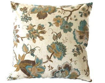 Brown and Turquoise Floral Print On A Beige Background, Pillow Cover In A Waverly Fabric, Zipper Closure, 3 Sizes Including Lumbar