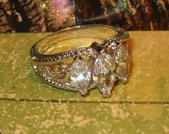 Gorgeous Marquis Ring, Triple Stones, Silver Tone Metal, Ornate Setting, Wedding, Anniversary, Approx 6.5 to 7 size, Lovely, Gorgeous