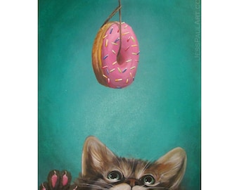 """Cute, Cat Donut Art Print - """"Sprinkles"""" 