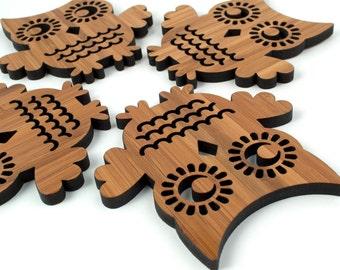 Owl Coasters: Woodland Decor (Set of 4) Bamboo Wood