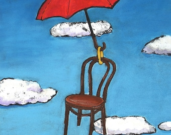Surreal Red Umbrella DIgital Giclee Wall Art Print