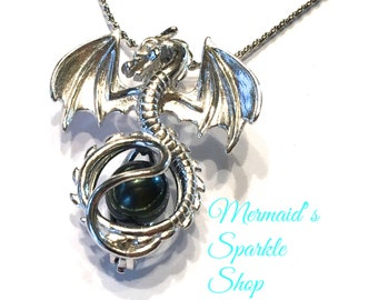 Sterling Dragon Pearl Cage Pendant Flying Dragon Pendant Dragon Cage for Pearl Necklace Dragon Jewelry, Pearl & Chain sold separately