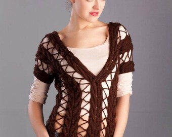Cabled hand knitted sweater