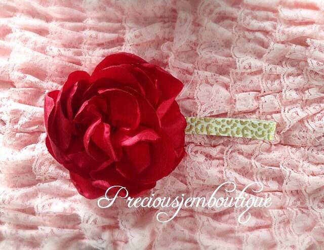 Huge flower headband pink flower on leopard elastic mightylinksfo