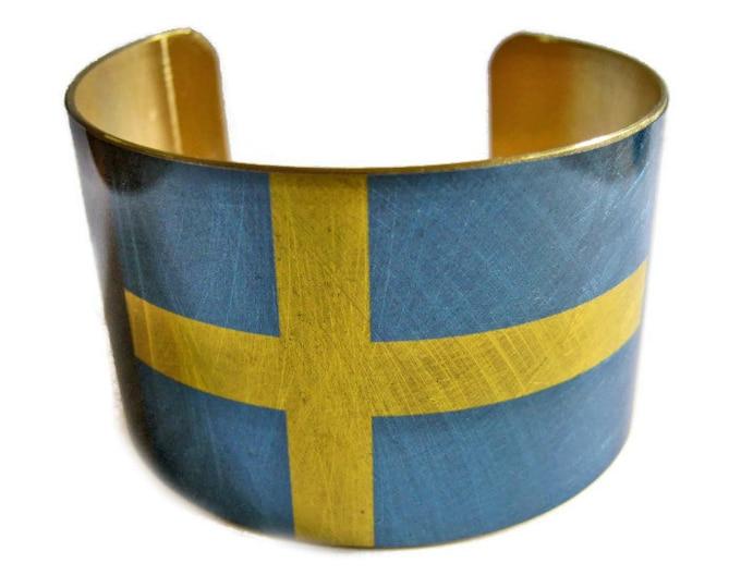 Sweden FLAG cuff bracelet Swedish Brass Heritage Gifts for her