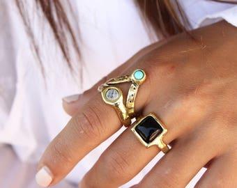 Anillo turquesa v anillo cristal anillo boho anillos apilar anillos diaria joyería Bohemia birthstone joyería anillo piedra Bohemia anillos