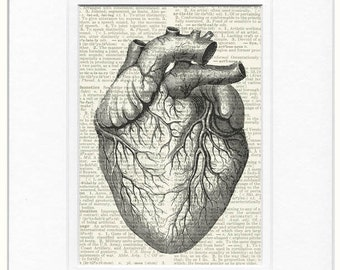 vintage heart dictionary page print