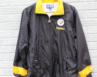 Vintage Steelers Starter Windbreaker // Vintage Steelers Windbreaker // 90s Steelers windbreaker // steelers jacket  //