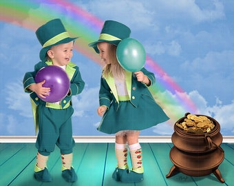 Toddler, Child, Newborn, Baby, Studio St Patrick's Day Photography Cute Digital Backdrop Prop for Photographers with Pot of Gold and Rainbow