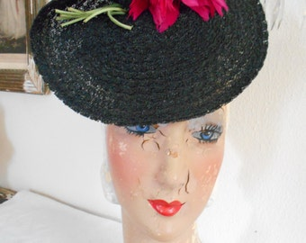 Beautiful 1940's Black Faux Straw Tilt Hat with Pink Feathers