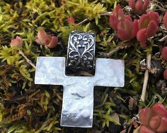 Lovely Filigree Hammered Cross Pendant .925 Reversible ~ Silpada Retired