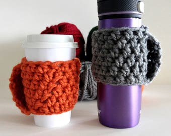 Cup Cozy with Handle Multiple Colors | Chunky Cup Cozy | Coffee Cup Sleeve | Chunky Coffee Cozy | Reusable Coffee Sleeve | Cup Cozy