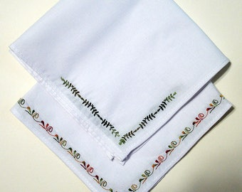 Set of Two Embroidered Handkerchiefs, Gift for Dad, Gift for Boyfriend, Gift for Best Friend, Gift for Coworker