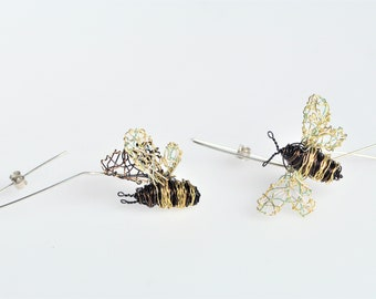Bee earrings, wire, different, black gold, long hoop earring, boho chic, unusual, insect art jewelry, Spring, unique birthday gift for women