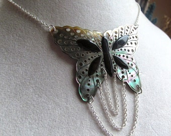 Carved Black Lip Shell Butterfly Focal Necklace in Sterling Silver