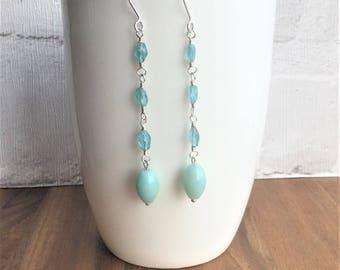 Gemstone earrings, blue earrings, handmade earrings, dangle earrings, amazonite earrings, gemstone earrings