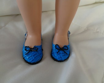 Black and Blue Daria- slip on  Doll  Shoes- sandals for 14 Inch Dolls- Fits Wellie Wishers  Dolls