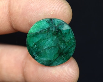 24.45  Cts. Beautiful  African  Emerald Round Cut Loose Gemstone