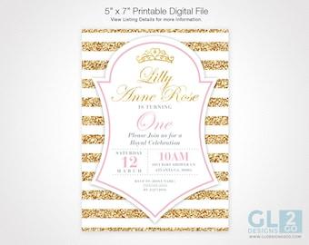 Princess Birthday Invitation. White, Gold & Light Pink Baby Girl, Little Princess, Crown, Tiara Birthday Invitation. Digital Download