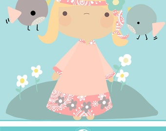 Boho cute girl cliparts - COMMERCIAL USE OK