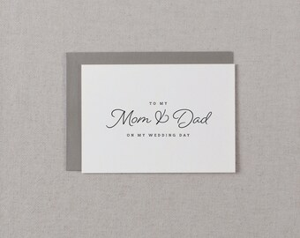 Wedding Card To My Mom + Dad On My Wedding Day, To My Father Wedding Card, To My Mom Card, To My Dad, Parents Wedding Card, Wedding Note, K1